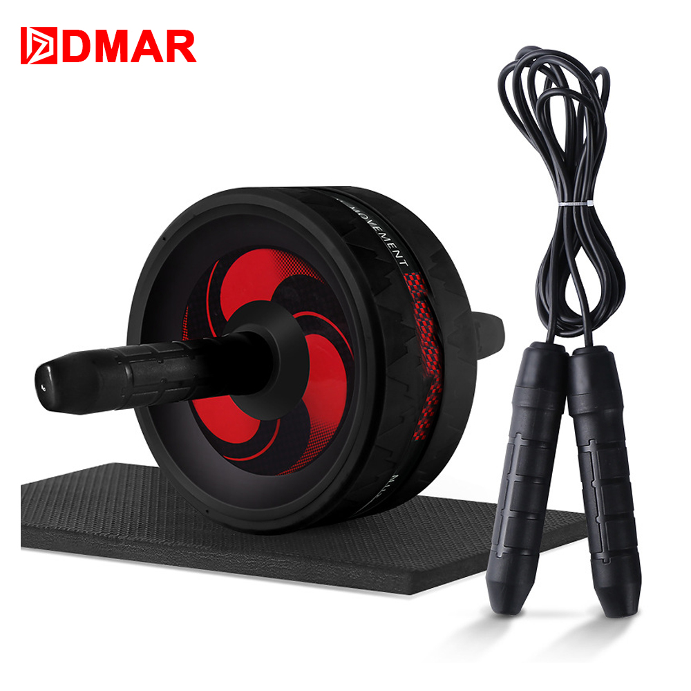 DMAR 2 in 1 Ab Roller&Jump Rope Abdominal Wheel Roller with Mat For Arm Waist Leg Exercise Gym Home Fitness Equipment