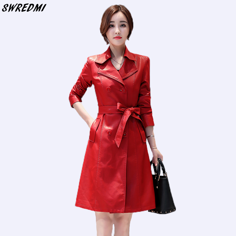 SWREDMI New Slim Fashion Sashes Women   Leather   Trench Plus Size S-3XL Female Clothing Outerwear Autumn Long   Leather   Coat   Suede