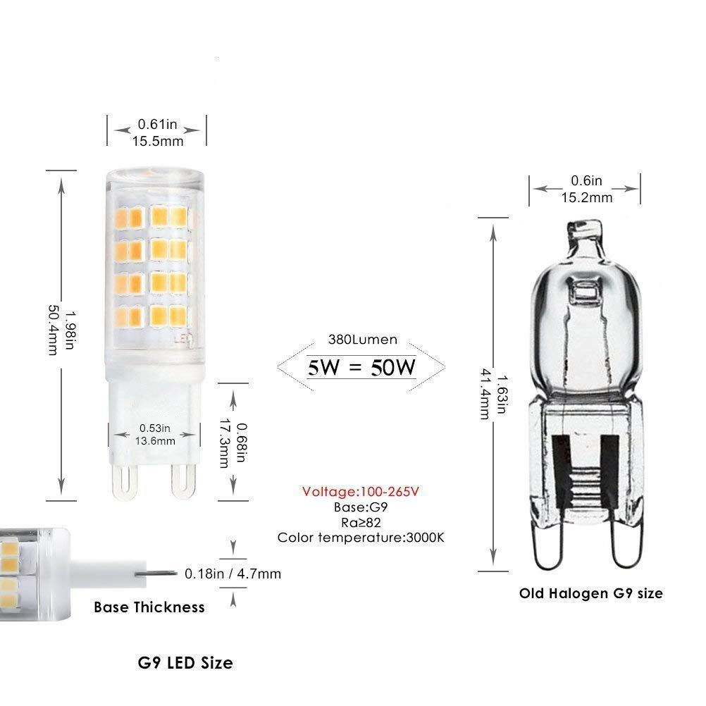 Lampada Led Equivalente A 40w New G9 Led Bulb 40w Equivalent Daylight Warm White 3000k Ac 110 130v 360 Degree Omni Beam Angle Non Dimmable Jcd Light Bulb G9
