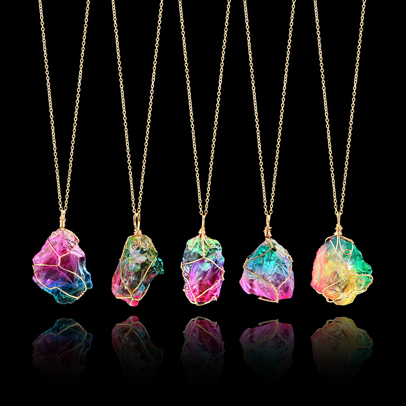 NEW Rainbow Stone Necklace Fashion Crystal Chakra Rock Necklace Gold Color Chain Quartz Pendant Necklace for Women Gifts D2036