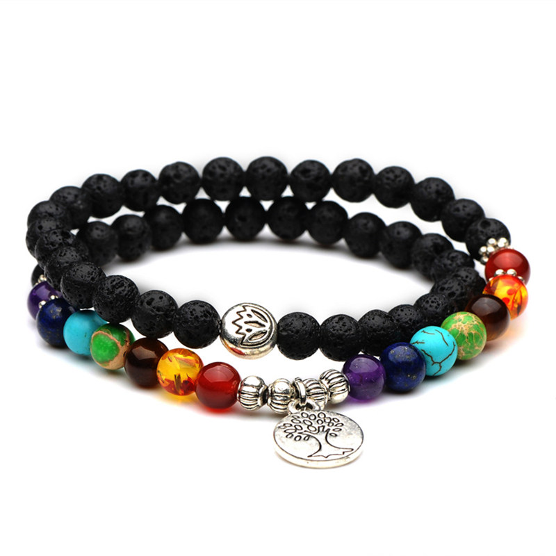 Double Layer 7 Chakra Beads Life Tree Charm Bracelet Men
