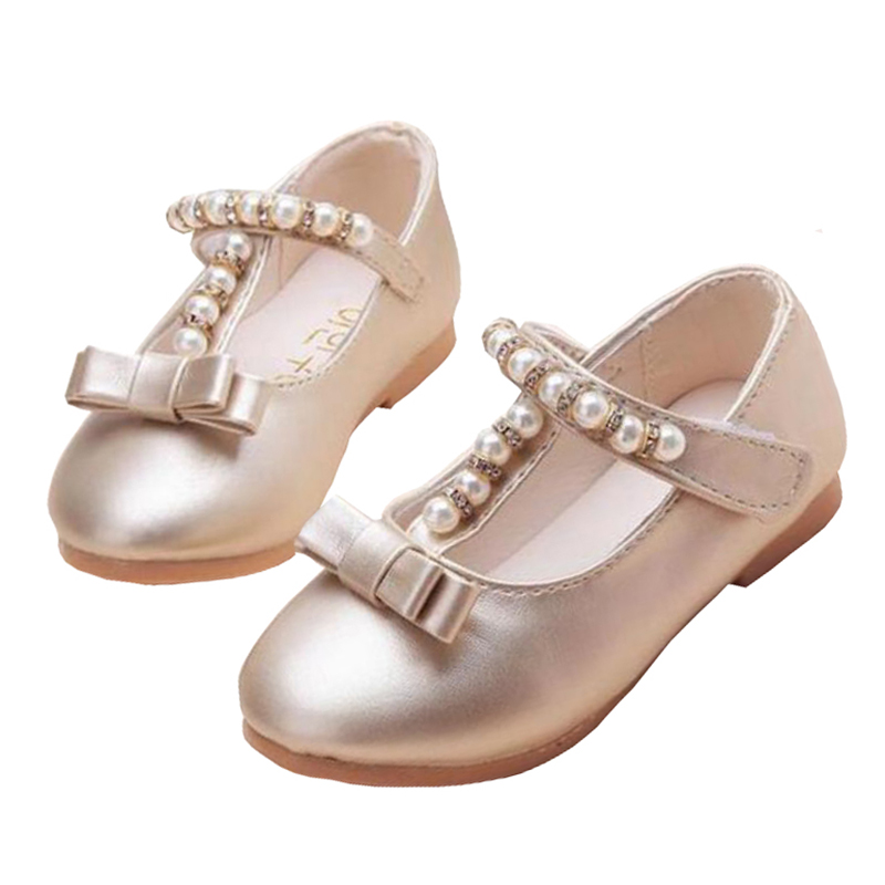 New 2020 Kids Baby Flowers Children Princess Leather Toddler Shoes For Little Girls Gold Beaded Dance Wedding Party Dress Shoes
