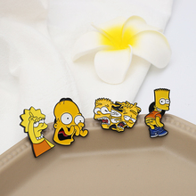 Funny Simpson Family Lapel Pins Mr Burns Bart-Simpson Marge-Simpson enamel Pin Badges Vintage TV Cartoon Brooches gift Jewelry