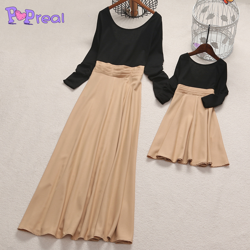PopReal Lovely mother daughter dresses Bowknot Decorated Color Block Pure color Dress fa ...
