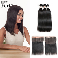 Remy Forte Human Hair Bundles With Closure 28 Inch Human Hair Bundles Mink Straight Human Hair Extension With 360 Lace Frontal