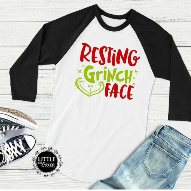 Plus Size Women T-Shirt 3 4 Raglan Sleeve Merry Christmas RESTING GRINCH  FACE Letter Print Tshirt Full Sleeve Casual Top Tee 011777ac0d