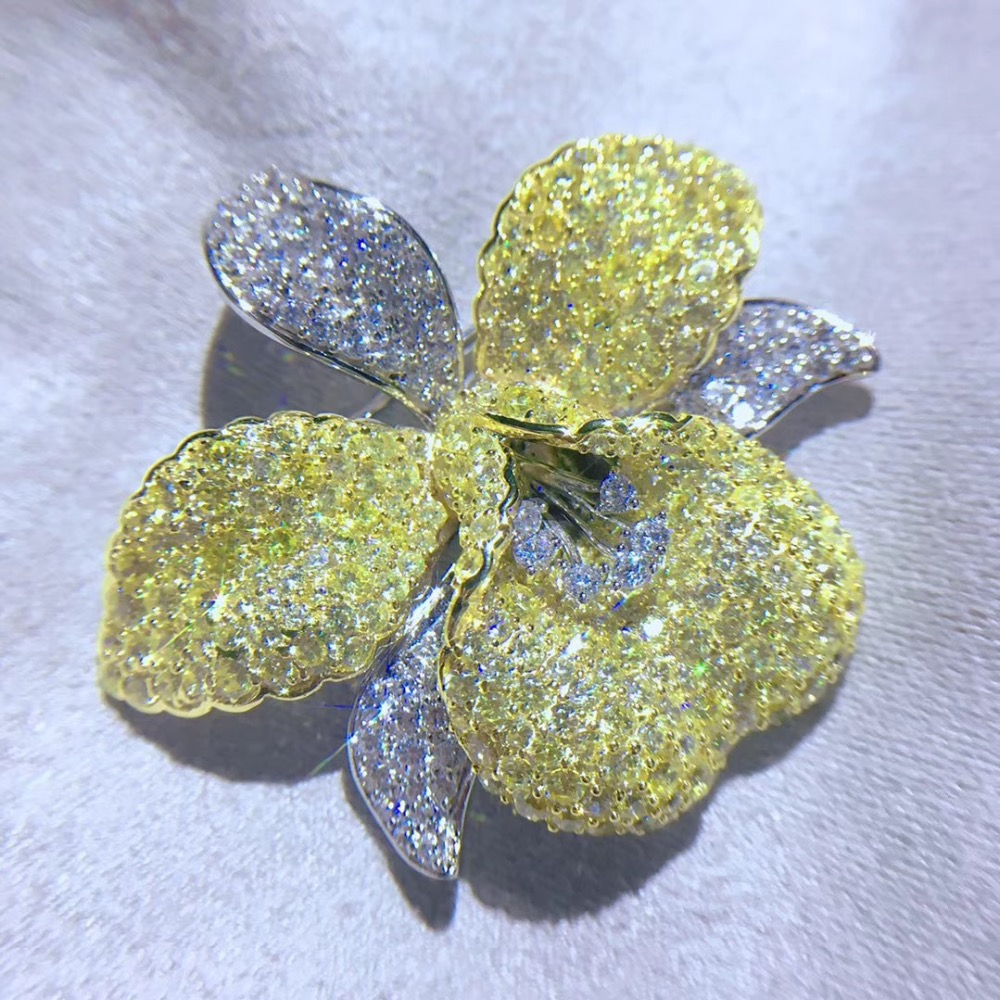 925 sterling silver with cubic zircon flower brooch pin yellow color fashion women jewelry free shipping
