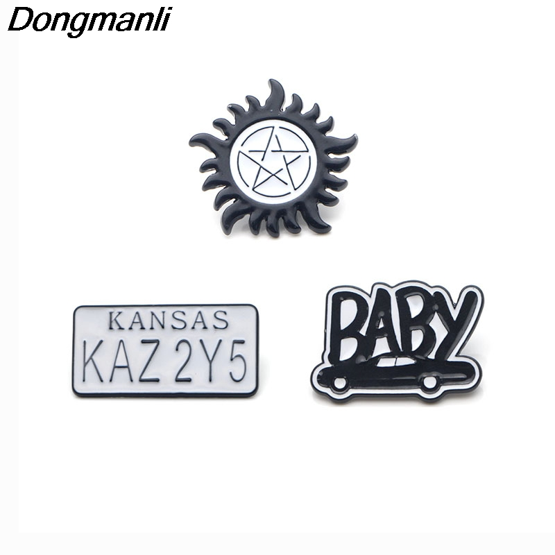 P2996 Dongmanli wholesale 20pcs lot Supernatural TV series Metal Enamel Pins and Brooches for Women Men