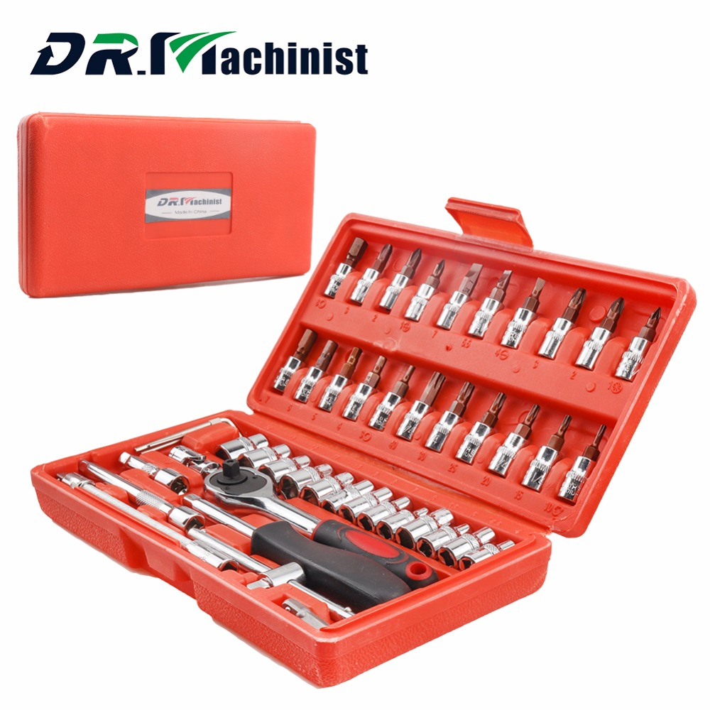 DR.Machinist High Quality 46pcs Socket Set Car Repair Tool a set of keys Ratchet Torque Wrench Hand Tools Combination Bit Kit made in taiwan high quality pard 62pcs 3 8ratchet wrench set auto repair tool set screwdrivers heads hand tools combination