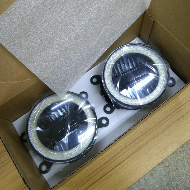 luckeasy 3in1 Highlight Angel Eyes + LED Daytime Running Light + LED Fog Lamp Fog Lamp For Mitsubishi Pajero V87 V97 drl sncn high brightness 90mm led fog lamp for mitsubishi pajero v87 v97 2007 2014 daytime running lights led drl