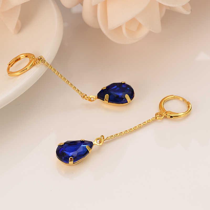 דובאי הודו אפריקה זהב מצופה עגילי פשוט יהלומי ספיר קריסטל ציצית ילדה ליידי אירוסין חתונת תכשיטי מתנה