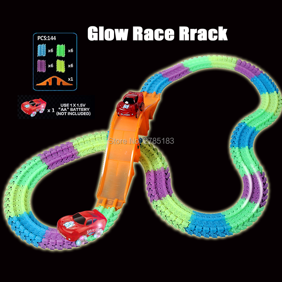 Glow Racing Car Track Set Glowing Race Track Fluorescent Bend Flex Flash in the Dark Assembly Car Toy with Bridge 1pc Led Car 280pcs miraculous race track bend flex car toy racing track set diy track electric rail car model set gift for kids