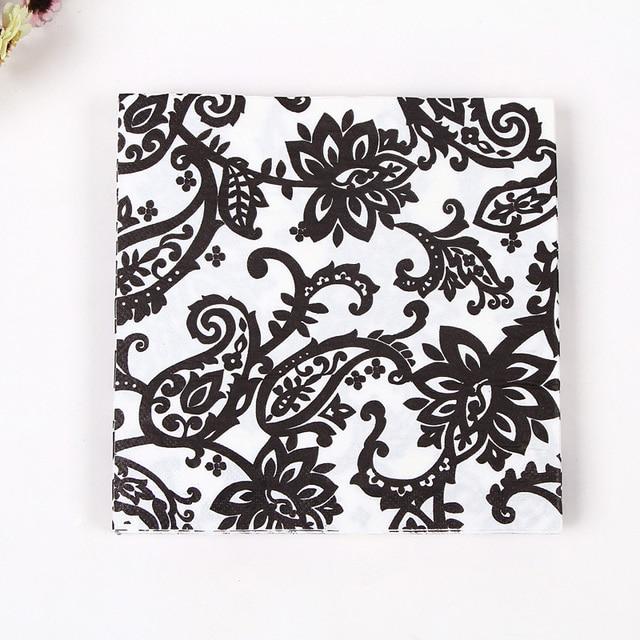 Neue design tisch papier servietten tissue blumen schwarz weiß ...