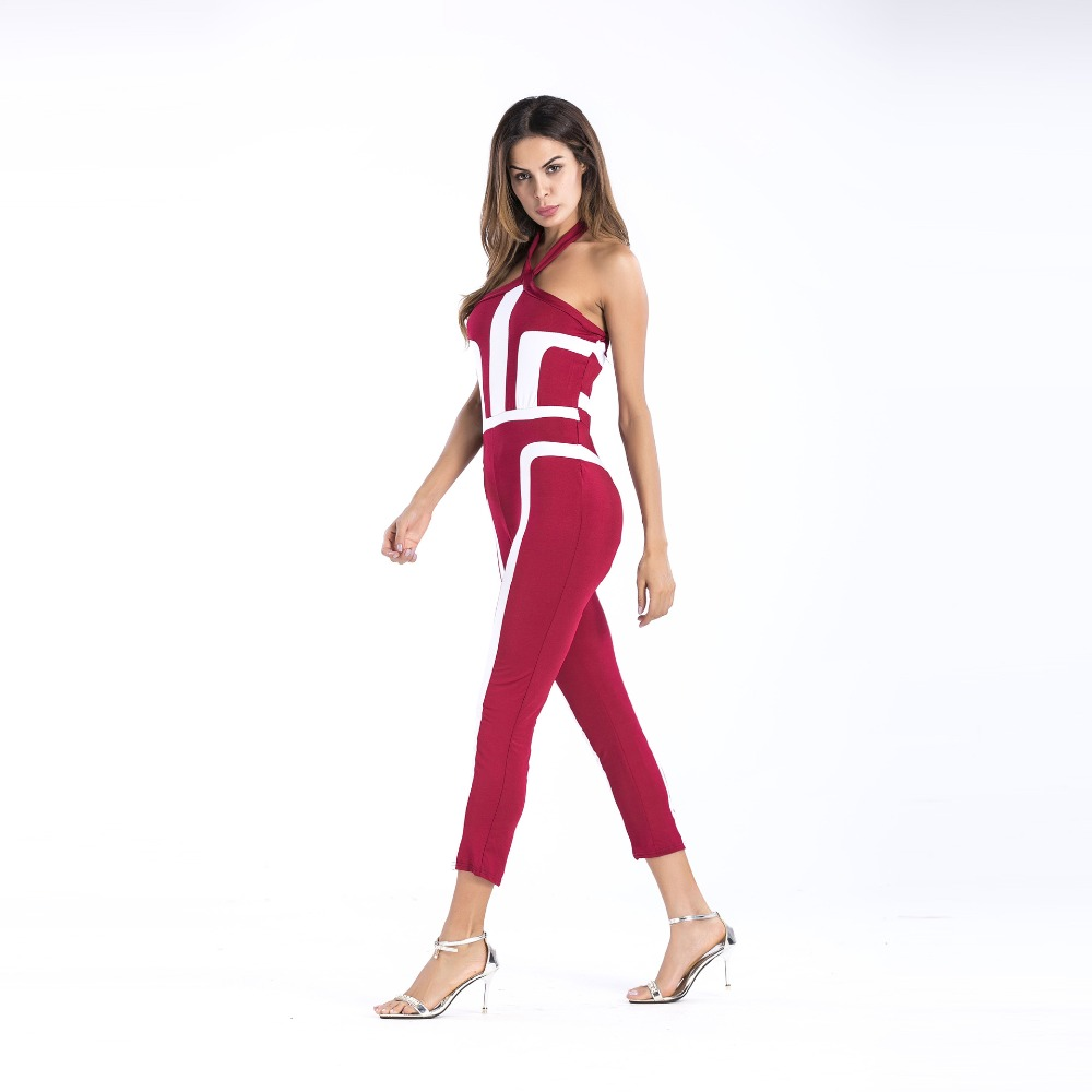 2019 Fashion Backless Rompers Sexy Female Jumpsuits For Women Overalls Sleeveless Halter Playsuit Casual Bodysuit 4 Colors in Jumpsuits from Women 39 s Clothing