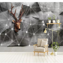 Custom wallpaper Nordic 3d solid geometry triangle elk line TV background wall painting advanced waterproof material