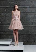 Mode A-linie Ärmellose Tüll Applique Cocktailkleider 2017 Kurz Glänzenden Perlen Party Geburtstag Kleid Robe Cocktail C10