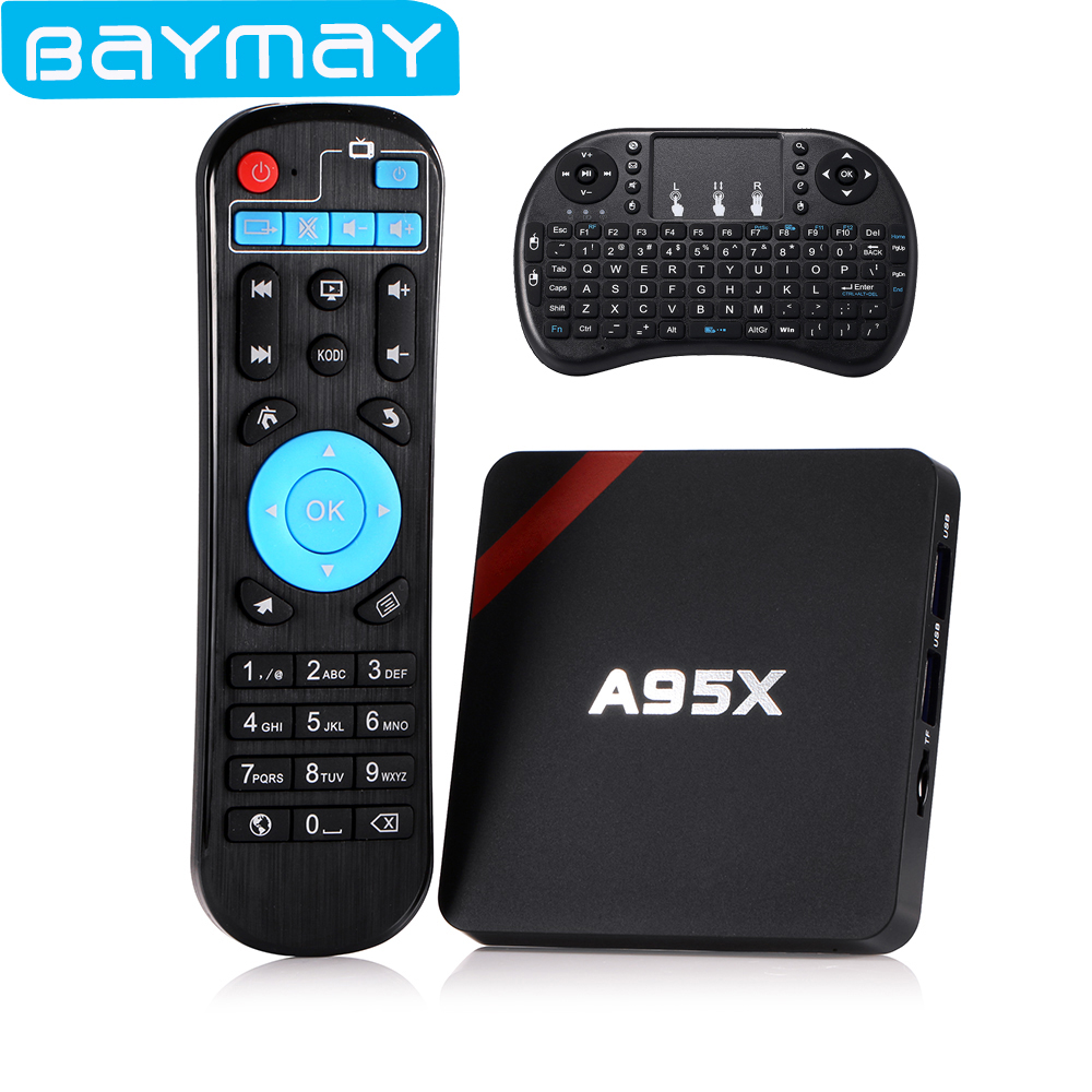 BAYMAY S905X A95X Android TV Box Amlogic Quad core 1 GB/2 GB RAM + 8 GB/16 GB RO