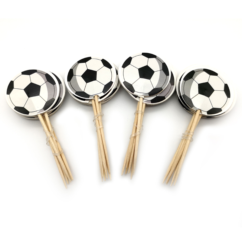 Football/Soccer ball Theme Boys Favors Cupcake Topper Happy Baby Shower Decoration Birthday Party Cake Toppers With Sticks 24pc