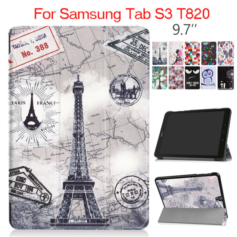 Tab S3 T820 9.7 inch PU Leather Case Cover Shockproof Protective Stand For Samsung Galaxy Tab S3 9.7 T820 Tablet PC Smart Fundas cover case for asus zenpad s z580 c 8 smart protective cover pu leather zenpad s 8 0 z580ca z580c 8 inch tablet pc stand cases