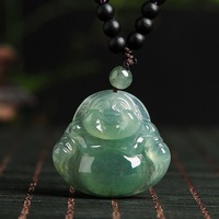 Genuine natural A class Burmese stone pendant necklace carved laugh Buddha pendant female JADES jewelry children's style beads