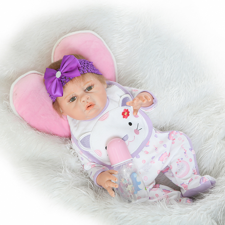 20 real bebe girl reborn bonecas Full Body Silicone reborn dolls with Pacifier pink pillow child lover gift 20 real bebe girl reborn bonecas Full Body Silicone reborn dolls with Pacifier pink pillow child lover gift