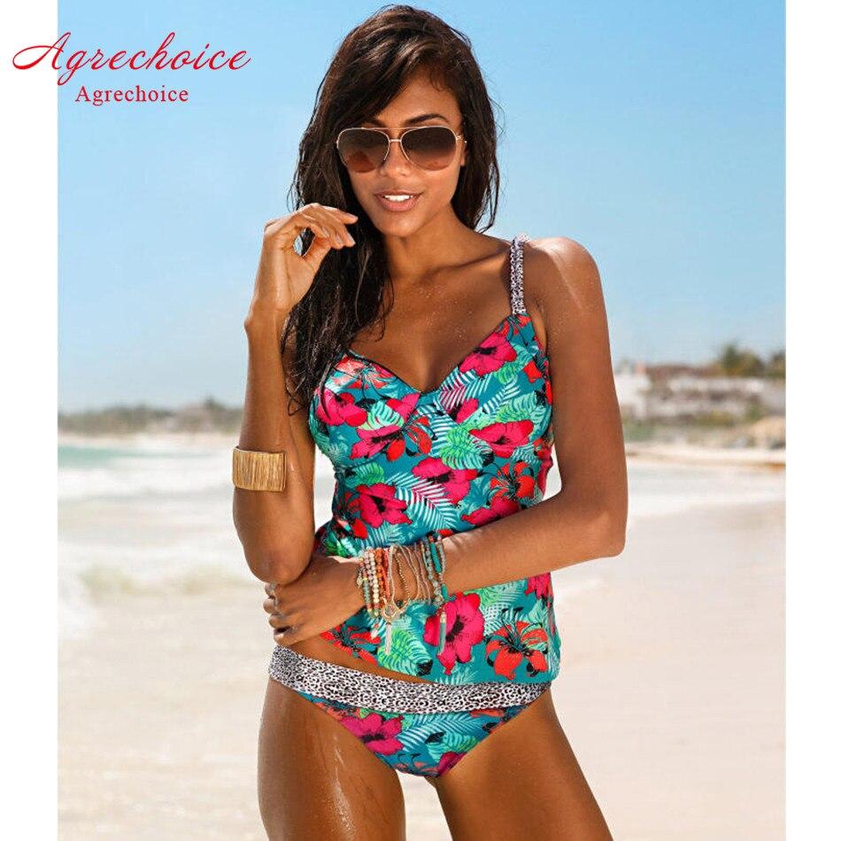2018 Swimwear Women Tankini Swimsuits High Waist Swimsuit Vintage Retro Bikini Set Push Up Bathing Suit Beachwear Swimming Suit