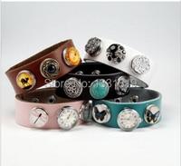 6pcs/lot mix Colors Leather Bracelets Fit Snaps snap new button Mixed DIY snap new button bracelet