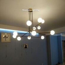 Modern design glass ball globe LED pendant light gold iron rod pipe