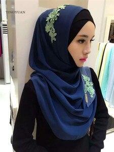 Image 4 - Hijab en mousseline de soie pour femmes musulmanes, foulard à capuche, Bandanas, casquette, châle, Abaya, couvre chef arabe islamique (sans sous vêtements)