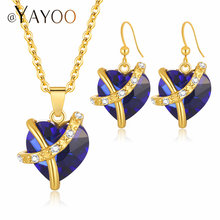 AYAYOO Jewelry Sets Women Gold Color African Beads Jewelry Set Dubai Bridal Luxury Wedding Fashion Necklace Jewellery(China)
