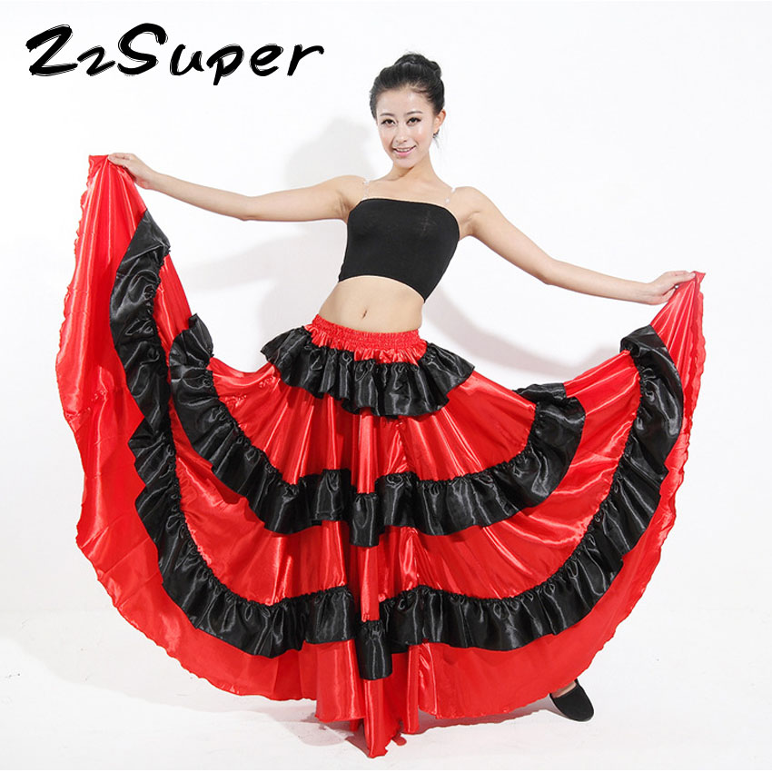ZzSuper Women Polyester Red Dress Patchwork Spanish Bullfight Festival Performance Flemanco Stage Ballroom Dance Costumes