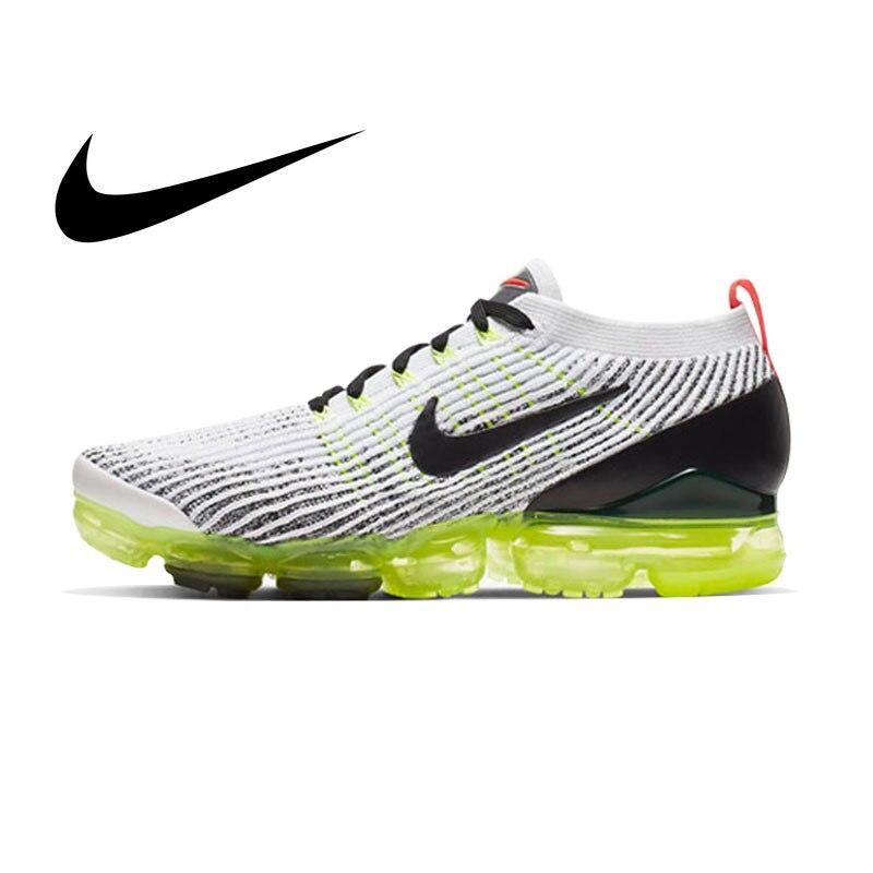 Original Autêntica Nike AIR VAPORMAX 3 FLYKNIT Sapatos Ao Ar Livre Tênis de Corrida dos homens de Absorção de Choque Leve nova AJ6900-102