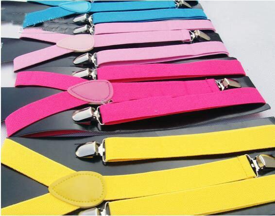 New Style Skinny Braces Suspenders Mens Ladies Neon Plain Adjust Colourful Clip-on Y-back 30pcs