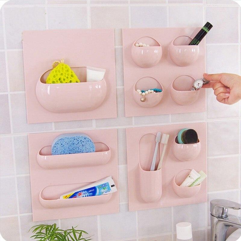 New Wall Suction Cup Bathroom Storage Rack Bathroom Holder Organizer Storage Shelf Repeatedly Use Home Supply(4 Styles)