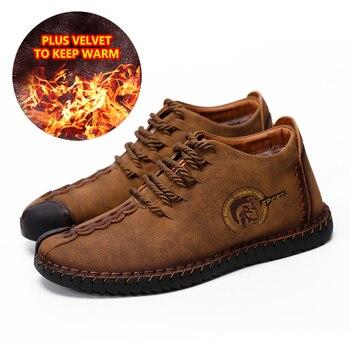 Erkekler Polar Sneakers Sıcak Kürk Kışlık Botlar Erkek Yumuşak Lace Up Çizmeler Moccasins sürüş ayakkabısı Büyük Boy 46 Chaussure Homme Couro