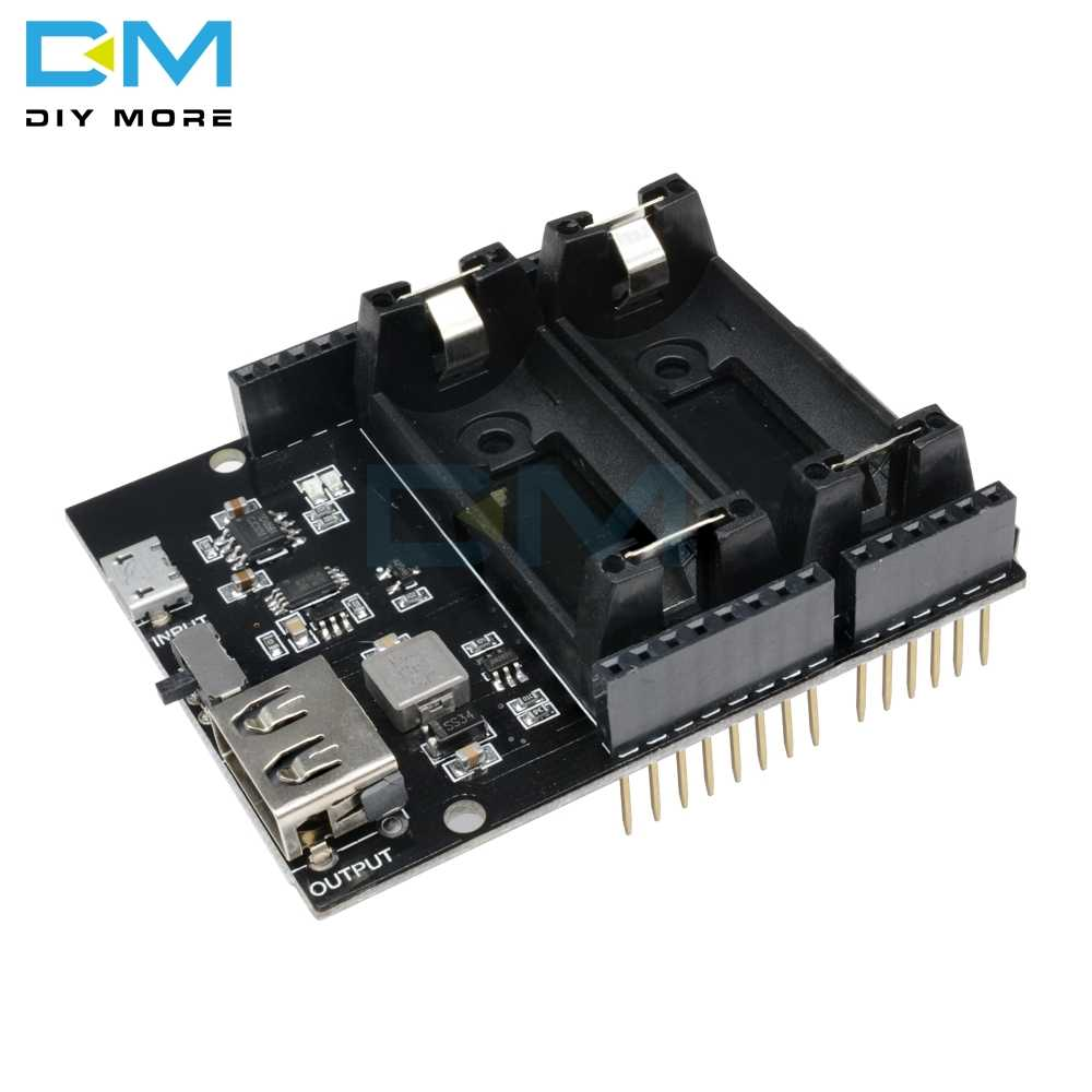 ESP8266 ESP32 2 Double Dual 16340 Rechargeable Lithium Battery Charger Shield Board Power Bank Module For Arduino UNO R3