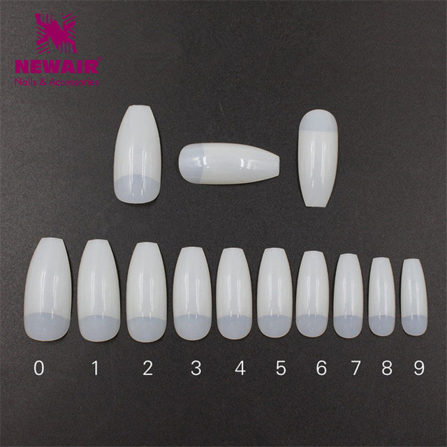 500pcs Long Half Cover Ballerina False Nail Tips Natural Coffin Fake ...