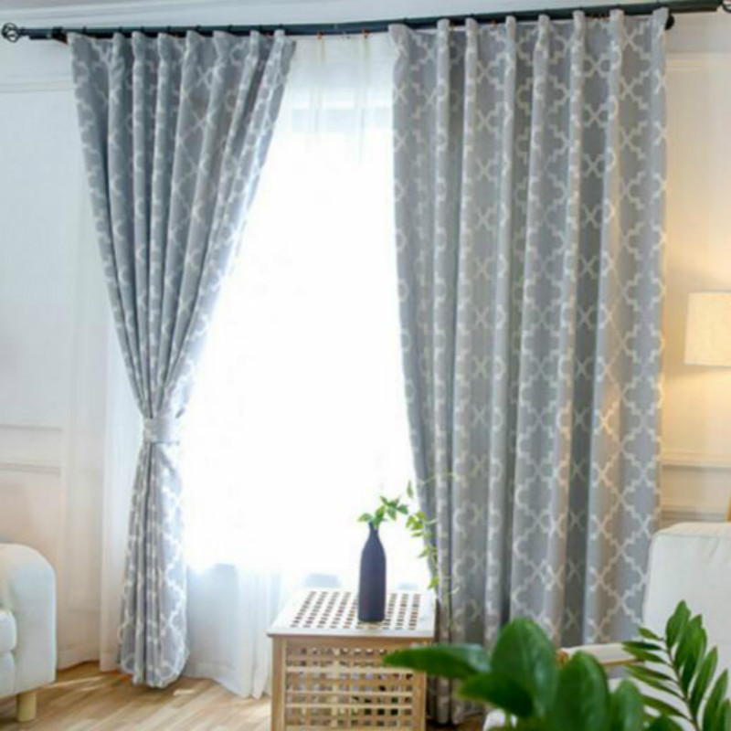 High Grade American Artificial Cotton And Linen Jacquard Shade Curtains Light Yellow Pink Grey
