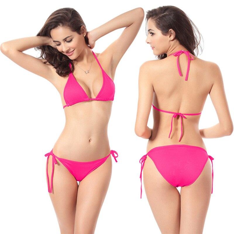 Buy Free Size Sexy Women Bandage Bikini Set Push-up Bra Swimsuit 10 Candy Color Thong Bikini 2019 Beach Swimming Suit Drop Ship