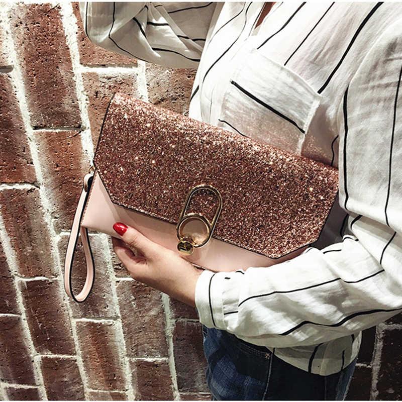 Envelop Tas Vrouwen Verjaardagsfeestje Avond Clutch Tassen Voor Vrouwen 2019 Mode Sequin Lederen Handtassen Luxe Dames Clutch Portemonnees