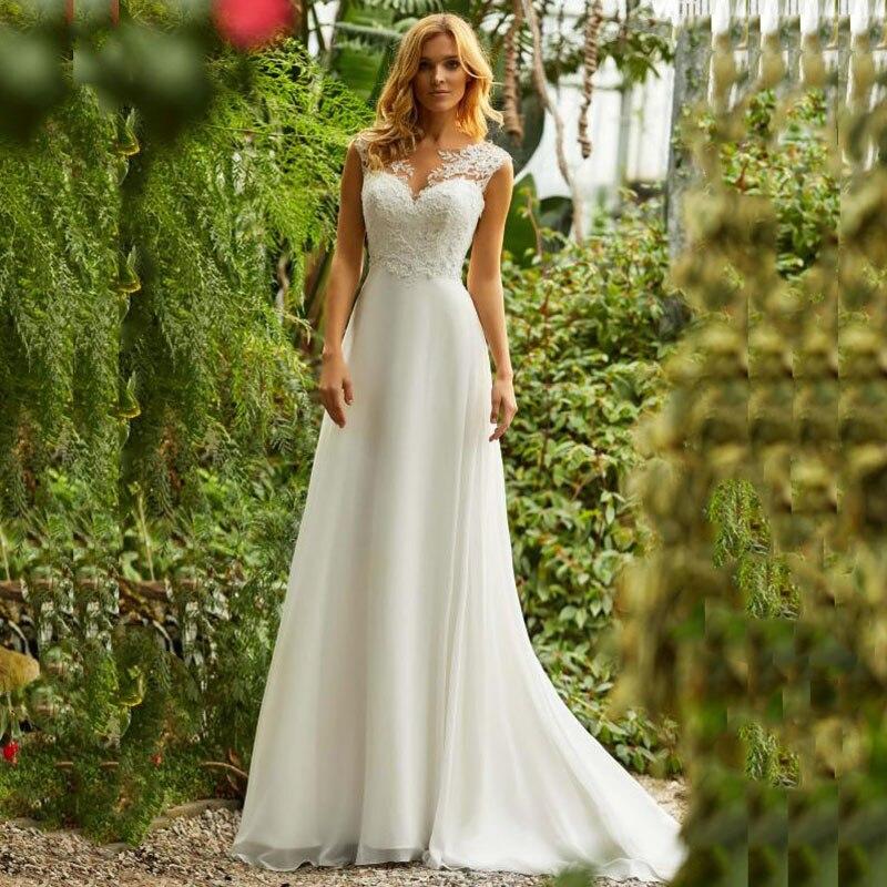 Boho robe de mariée o-cou Appliques dentelle Top une ligne Vintage princesse robe de mariée en mousseline de soie jupe plage robe de mariée 2019 nouvelle robe