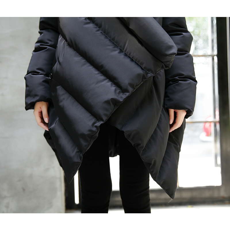 Croix Taille type Nouveau Collier Coton Manteau Manteaux Lâche Femmes D'hiver Personnalité Cape Mode Grande Black Chaud Irrégulière Pain Paddad rdoWQCxeB