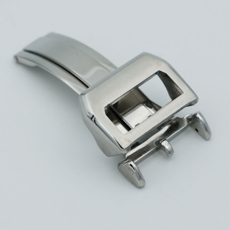 MAIKES New Stainless Steel Folding Clasp 18mm Silver Leather Strap Watchband Butterfly Buckle Case For IWC