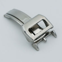 Maikes nuevo cierre desplegable de acero inoxidable de 18mm correa de cuero correa de plata butterfly buckle para iwc