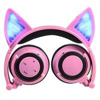 Glowing Over Ear Cat Ear Bluetooth Earphone Wireless Music Headphone Video Game Headset With Microphone Phone Call Speaker