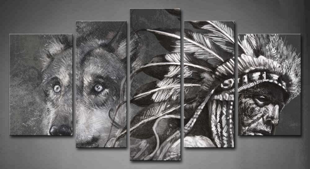 5 photos encadrées mur Art photo loup indiens toile impression œuvre Animal moderne affiches avec des cadres en bois pour la décoration de la chambre