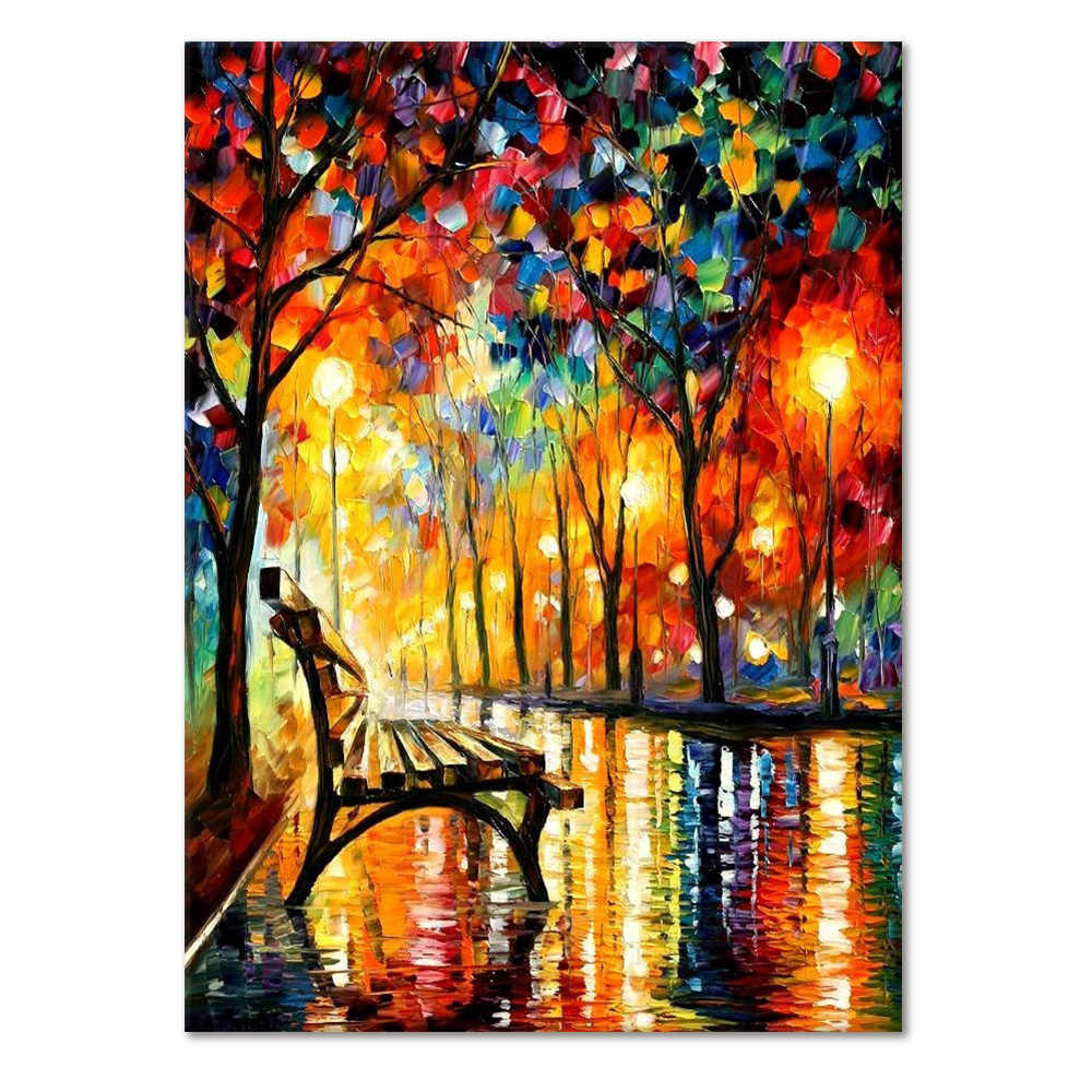 1PC Colorful Night Scene Art Decoration Painting Gift Modern Wall Pictures Home Decor Accessories For Living Room Oil Painting