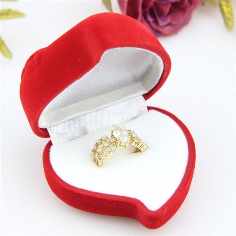 1 Pc Mini Nette Rote Rose Herz Geformt Faltbare Fall Display Schmuck Box Samt Hochzeit Ring Ohrringe Box Halter