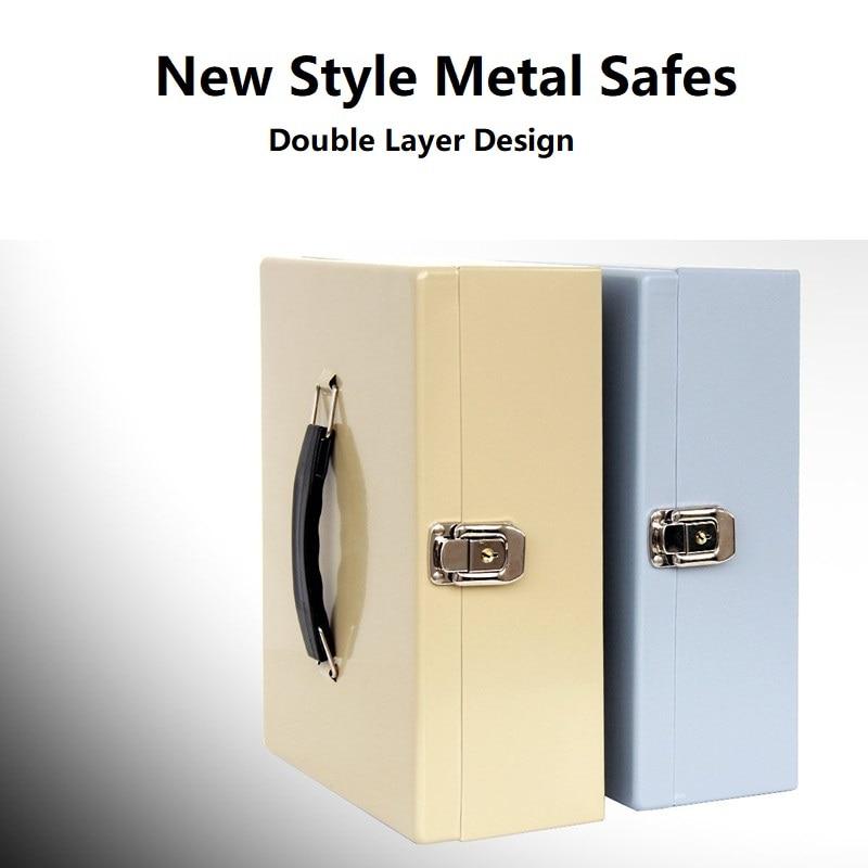 28cm*20cm*10cm Household Safekeeping Piggy Bank Office Large Receiving Metal Savings Box Jewelry Safes