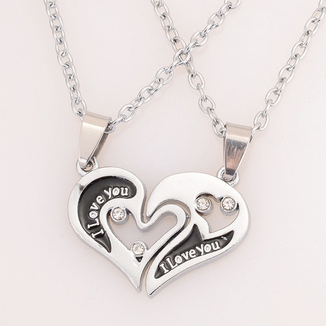 Wholesale Couple Lovers Necklaces Valentineu0027s Day Chain Men Necklaces I  Love U Double Heart Necklace Jewelry